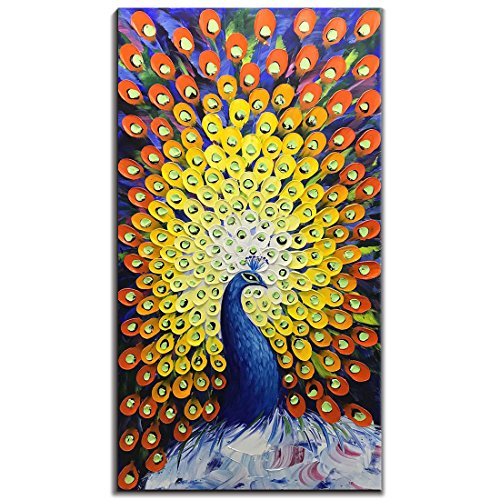 V-inspire Paintings, 24x48 Inch Modern Abstract Painting Yellow Peacock in Plume Oil Hand Painting 3D Hand-Painted On Canvas Abstract Artwork Art Wood Inside Framed Hanging Wall Decoration for ()