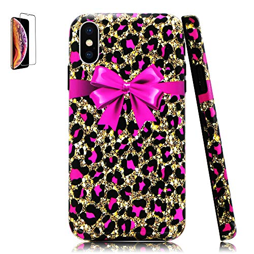 Lartin Pink Cheetah Print and Bowknot Soft Flexible Jellybean Gel TPU Case for iPhone Xs Max ()