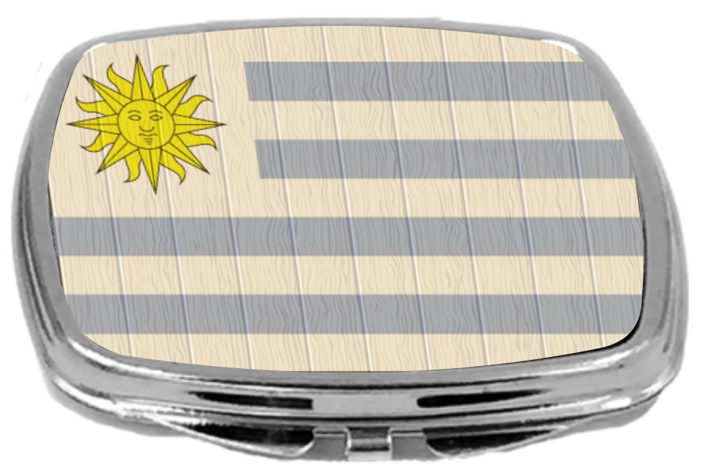 Rikki Knight Compact Mirror on Distressed Wood Design, Uruguay Flag, 3 Ounce by Rikki Knight (Image #1)