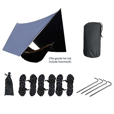 Hamac Rain Fly étanche Pu2000mm, léger, anti UV protection solaire Hamac hexagonale Tente Bâche Rainfly Abri avec corde/aluminium Piquet/sac de rangement pour la randonnée, la randonnée