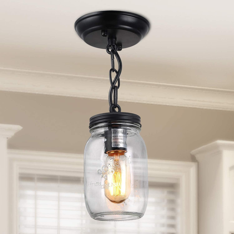 Lnc Flush Mount Light Fixture Farmhouse Mason Jar Pendant A03220 Single Ceiling Amazon Com