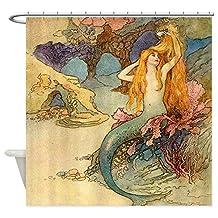 CafePress - Vintage Mermaid - Decorative Fabric Shower Curtain