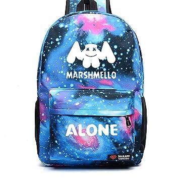 DJ Marshmello Luminous Mochilas, Galaxia Schoolbag Mochila Unisex para portátil Bolsa Fresca para Adolescentes Mochila Casual Bolsa de Escuela Bolso de ...