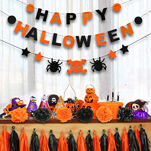 Orange Halloween Garland - Lovne 25Pcs Halloween Banners Tassels Set, HAPPY HALLOWEEN Decoration with 6 Paper Pom Poms Honeycomb Balls 18 Paper Tassels for Halloween Party Decoration