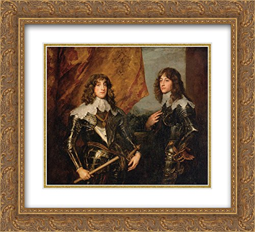 Prince Palatine - Anthony Van Dyck 2X Matted 22x20 Gold Ornate Framed Art Print 'Portrait of The Princes Palatine Charles Louis I and his Brother Robert'