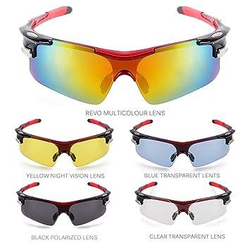 TOMOUNT Gafas de Sol Deportivas Protección Mascara 5 Lentes Intercambiables Ciclismo Viaje Deporte Rojo UV400 para