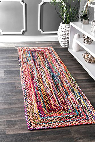 nuLOOM Handmade Casual Cotton Braided Runner Area Rugs, 2' 6