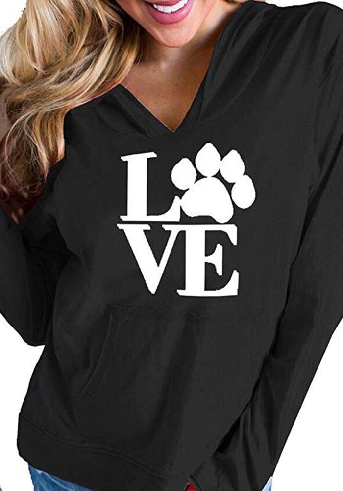 Sibylla Women's Casual Long Sleeve Love Dog Paw Print Pullover Hoodies Sweatshirts with Kangaroo Pocket