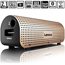 [Sponsored] LENCO Grid-7 Portable Speaker 2.1 Channel with Wireless Bluetooth NFC Stereo Sound Rich Bass Built in Mic Speakers for iphone ipad Cellphone (Gold)