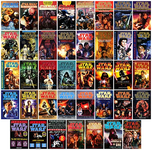 Star Wars 39 Book Set - 12 Trilogy Sets, Tales Quintology & 2 Duologies: Hand Thrawn Mara Jade Black Fleet Dark Nest Bounty Hunter Callista Corellian Dark -