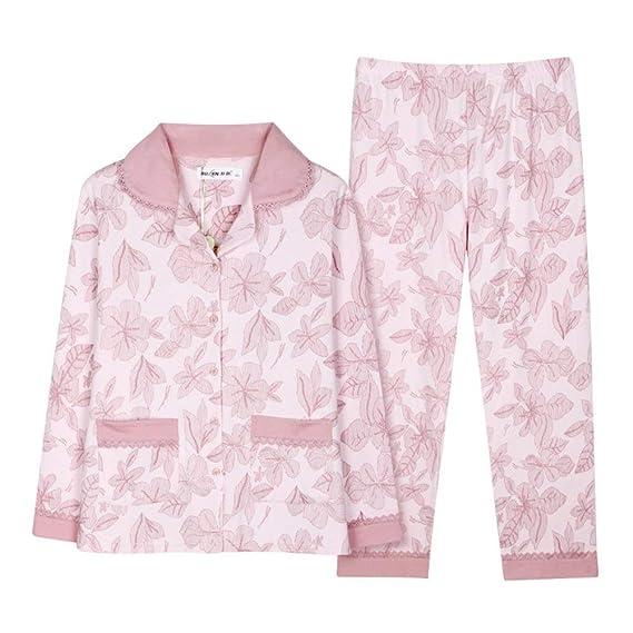 Conjunto De Pijama Mujer Primavera Otoño Patrón De Flores Batas Basic Elegante Manga Larga Un Solo Pecho Ropa De Dormir Fashion Camisones Pantalones De ...