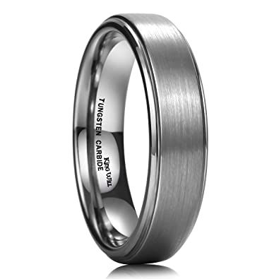 king will basic tungsten carbide wedding band ring brushed center 6mm for men women comfort fit - Tungsten Carbide Wedding Rings