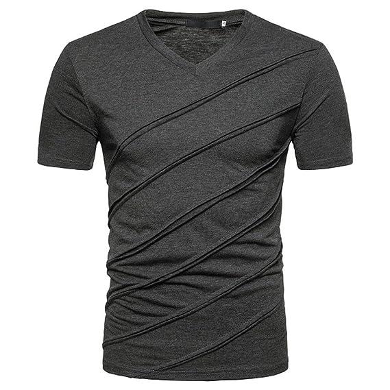 Naturazy Hombres La Blusa Superior De Manga Corta Delgada SóLida Ocasional Los Personalidad Moda Camisetas Camiseta