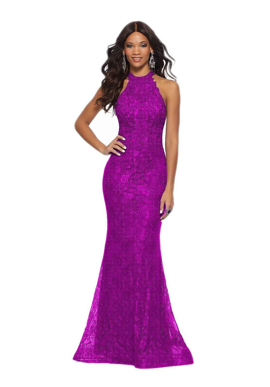 Bright Purple Jerald Norton Ltd Women's Halter Neck Lace Applique Dress Sexy Mermaid Open Back Prom Dresses