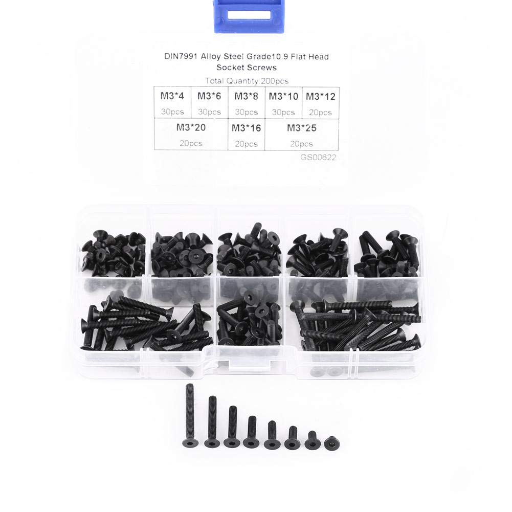 Flat Head Hex Socket Screw 200Pcs//Box M3 Countersunk Flat Head Hex Socket Screw Bolt Machine Fastener Assortment Set