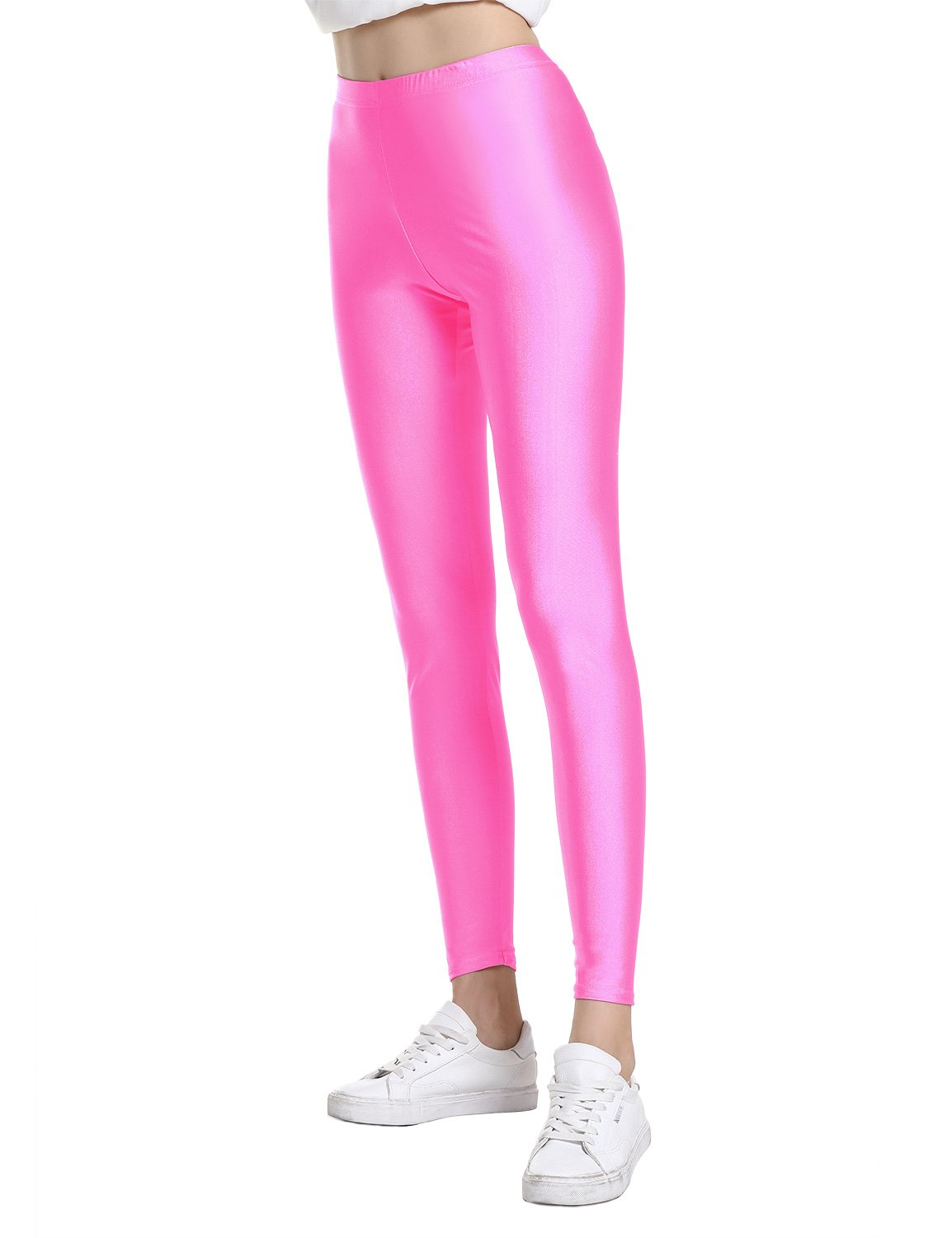 ZAN.STYLE Women's Soft Stretch High Waist Leggings Full Length Yoga Pants Rose Red Small