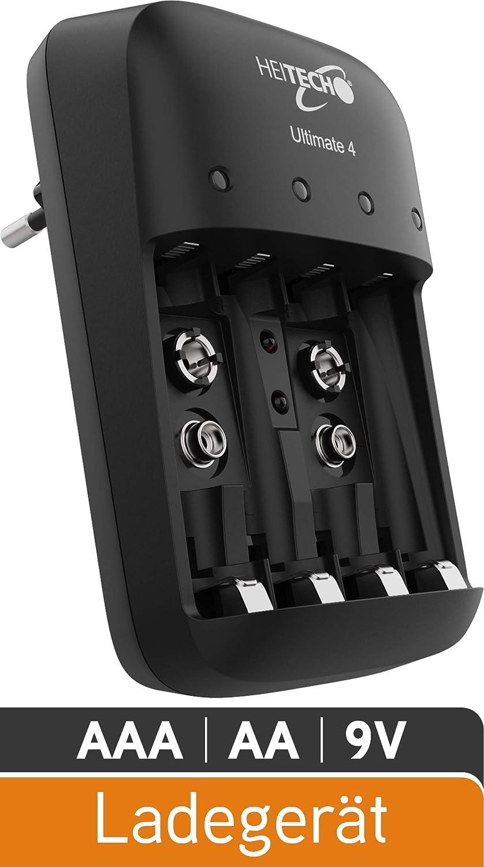 9V Akku Batterieladegerät Schnellladegerät AA HEITECH Ladegerät Ultimate 4 AAA