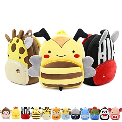 JJSSGJBB Student backpack Cartoon Animals Children School Bags Cozy Soft Plush For Toddler Baby Snacks Candy