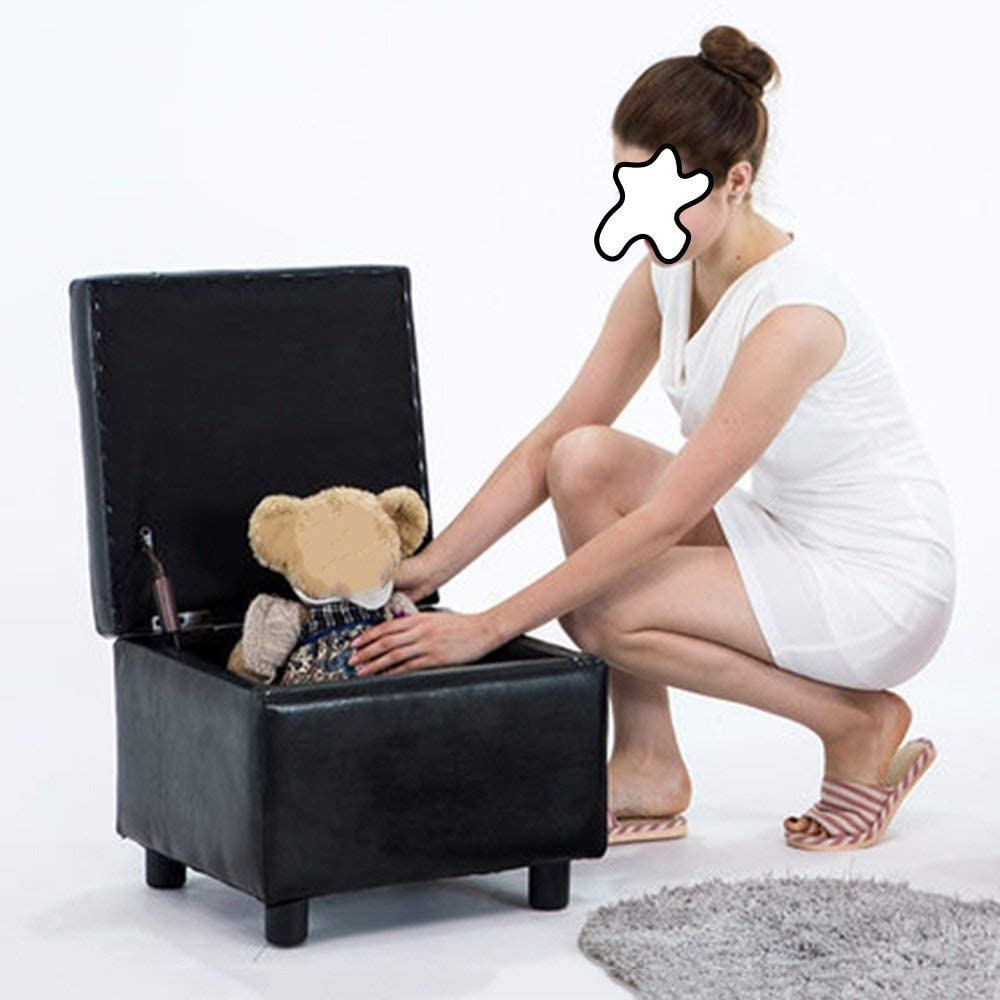 5 Colors Color : Beige Storage Stool Sofa Stool Upholstered Ottoman Square Pouffe Footstools Wooden Leather Stool Shoe Stool-Fashion Creative Fabric Foot Stool,Multifunctional Bench