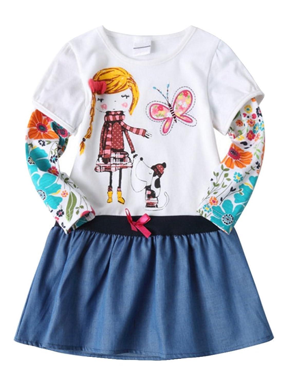 de85a05f6db08 Fille robe manches longues motif broderie vêtement enfant fille 2-8 ans  pour printemps été