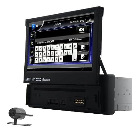 Reproductor de DVD de coche Din único 7 pulgadas motorizada pantalla táctil digital Autoradio Bluetooth GPS