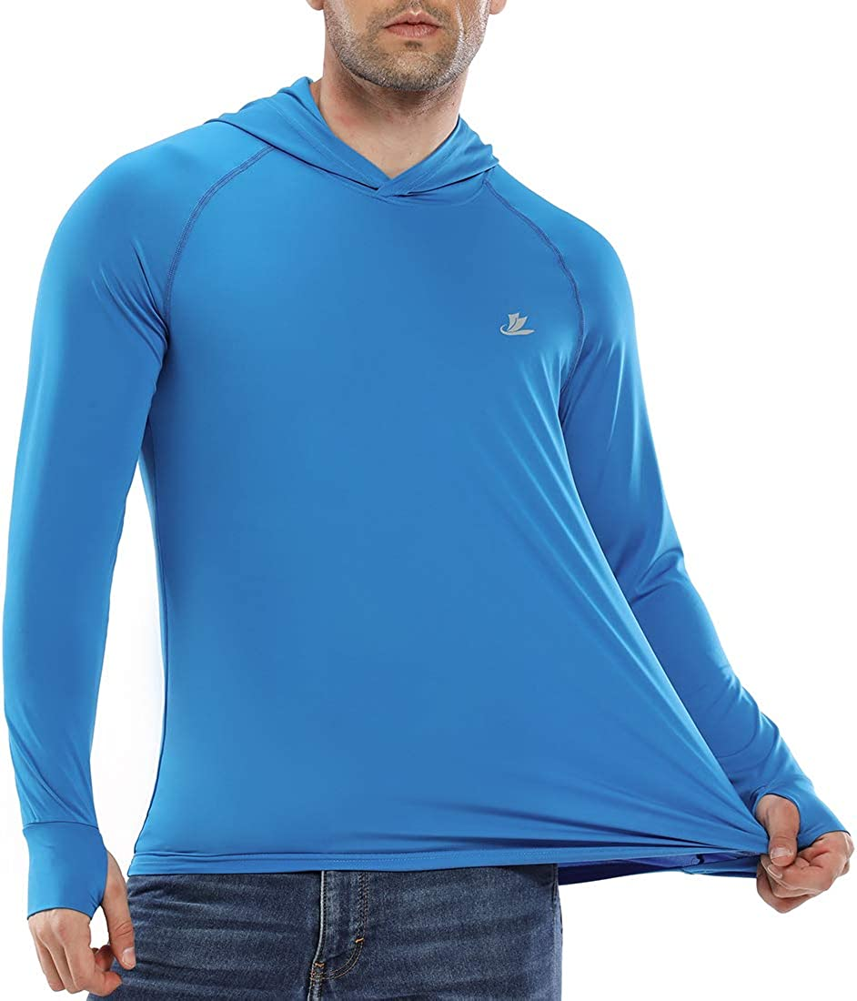 Sun Protection Hoodie Long Sleeve Fishing Hiking T-Shirt with Thumbhole Devoropa Mens UPF 50