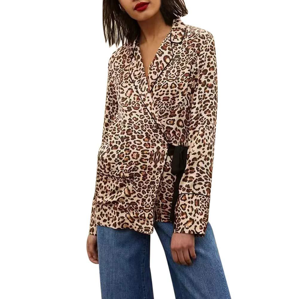 2018 LILICAT Chaqueta Mujer Solapa Leopardo Cintura Impresa Pajarita Camisa Camisa De La Chaqueta Top: Amazon.es: Hogar