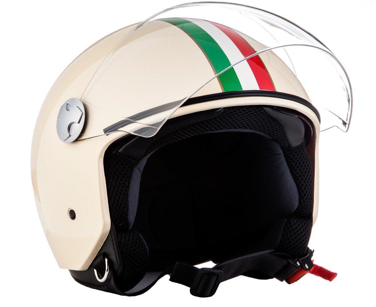 "red /· Casco moto Demi Jet /· Helmet Scooter motocicleta Retro Urban Urbano /· ECE certificado /· Separate Visors /· Click-n-Secure/™ Clip /· Bolsa de transporte /· Armor /· AV-63 /""Fun Red/"""
