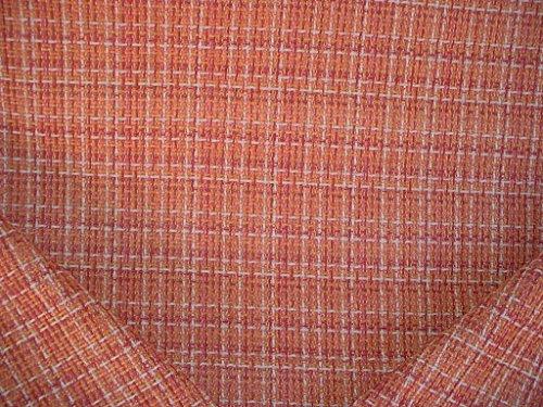157RT6 - Petal Rose / Persimmon / Soft White Transitional Velvety Chenille Geometric / Plaid Designer Upholstery Drapery Fabric - By the Yard