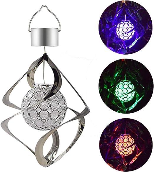 Solar LED Wind Chimes Light Rotating Crystal Ball Hanging Lamp Wind Spinner UK