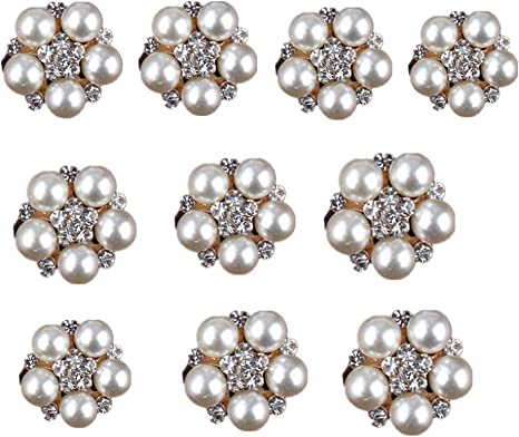 10pcs Pearl Embellishment Buttons Flatback for Wedding Scrapbooking Craft Making