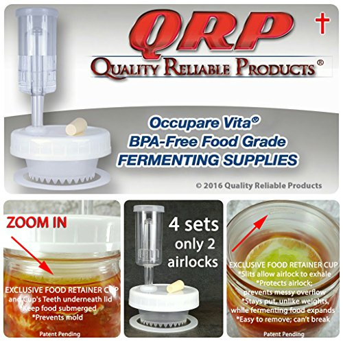 QRP BEGINNER'S No Messy Overflow No Weights Needed Mason Jar Fermentation Kits with Exclusive Food Retainer Cups keep food submerged, 4 Fermentation Lids & ONLY 2 Airlocks (WIDE MOUTH) by Quality Reliable Products