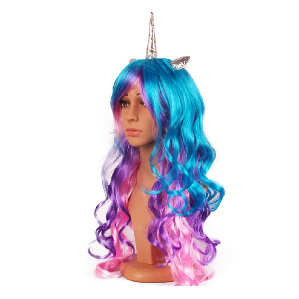 Unicorn Wig - 3 Color Wig with Unicorn Horn and Ears (Blue, Purple, Pink Hair)