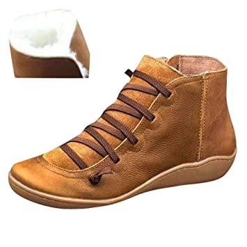 Women/'s Autumn Side Zip Wedge Heel Ankle Boots Arch Support Flat Comfy Shoes