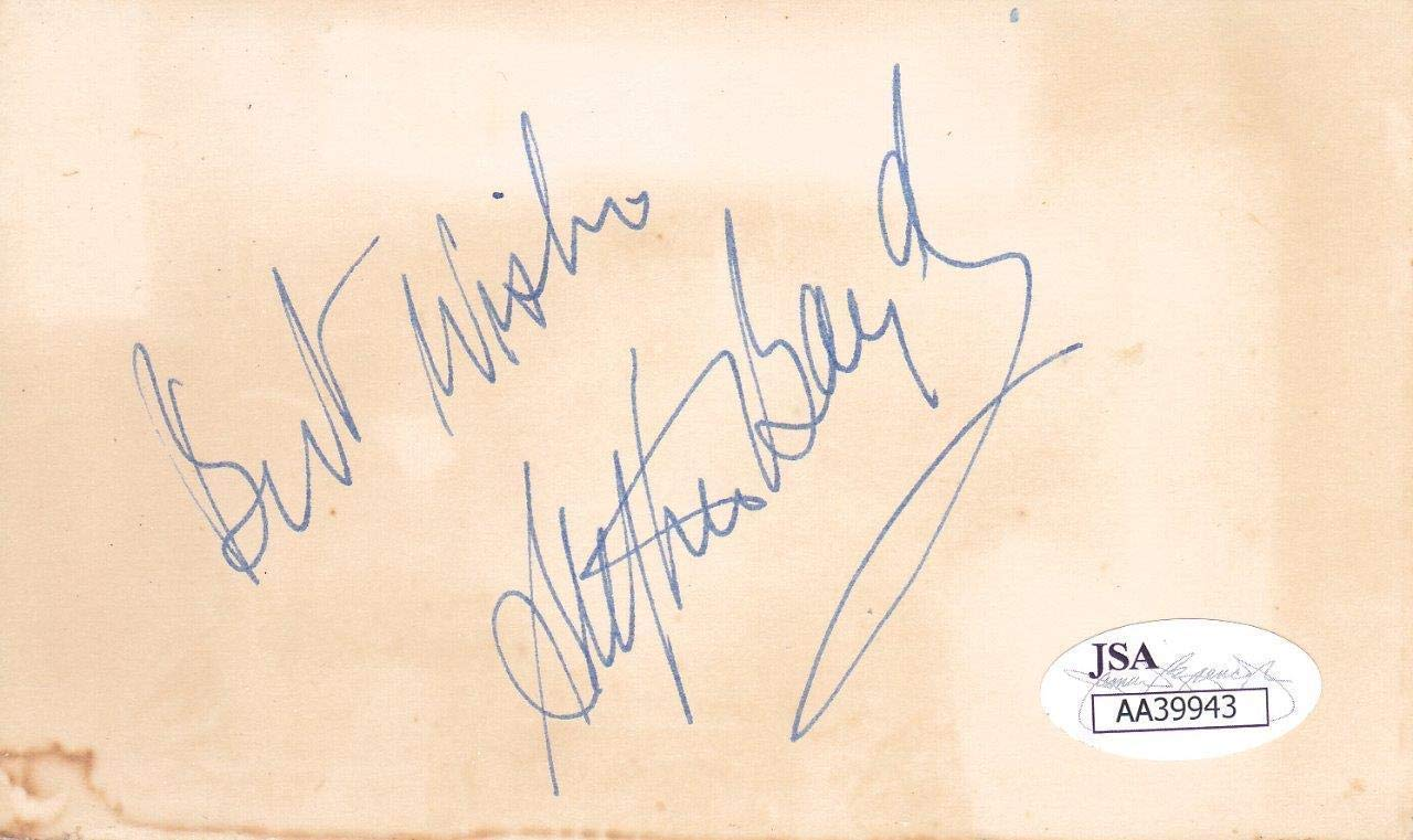 STEPHEN BOYD d. 1977 Signed Best Wishes 3x5 Index Card Actor/Ben Hur AA39943 JSA Certified NFL Cut Signatures