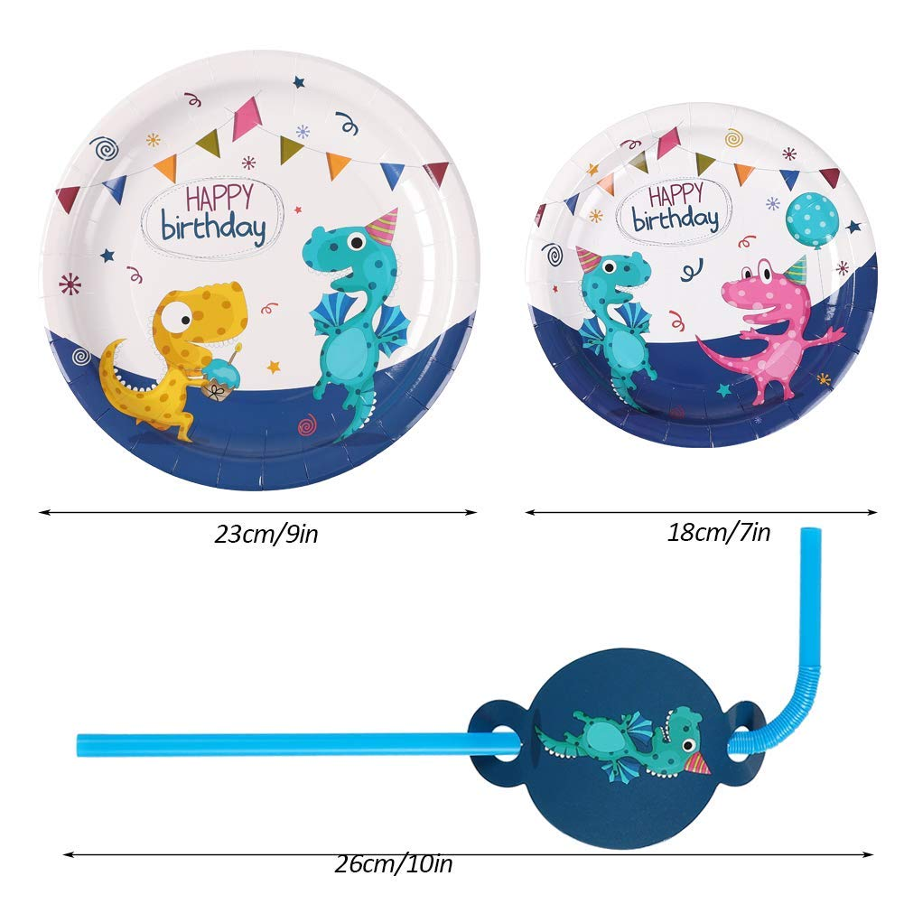 Dinosaur Party Supplies Kids Dinosaur Birthday Party Supplies Serve 16 Plates Cups Napkins Hats Tablecloth Balloons Tissue Paper Pom Pom Happy Birthday Banner Decorations
