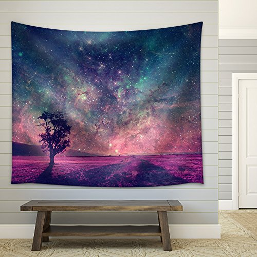 Red Alien Landscape with Alone Tree Silhouette in Purple Field Fabric Wall