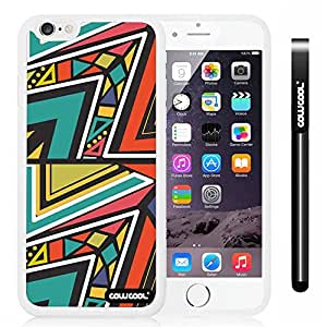 CowCool Apple iphone 6 4.7 Inch Soft Silicone Colorful Triangle Interlaced Totem White Shell Single Layer Protective Case (Style8)
