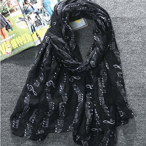 (Scarf,Han Shi Women Music Print Foulard Long Voile Scarves Shawls Wraps Neckerchief (L, Black))