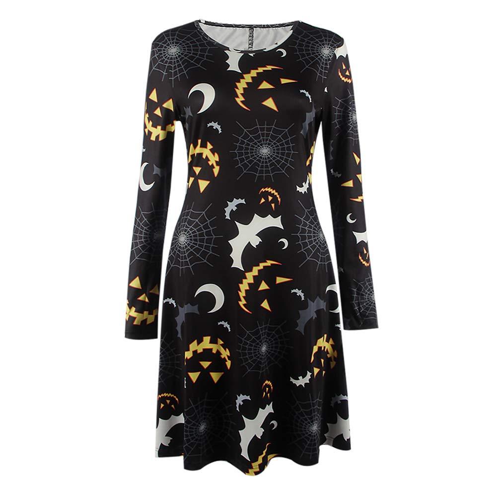 Carole4 Halloween Women Costume Long Sleeve Bat Printing Dress Fancy Dress Costume(M,Black)