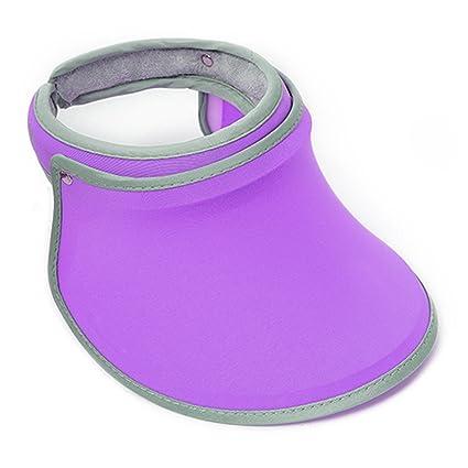987de51b Mily Ladies Sun Visor Womens Sun Visor Beach Visor Wide Brim Hat Cap (Purple )