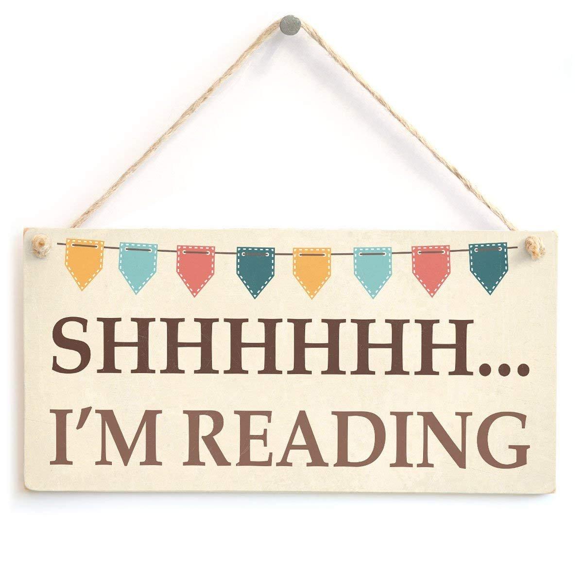 jkcm99 Placa de Regalo con Texto en ingl/és Please Be Quiet Bunting Design Book Lover Im Reading