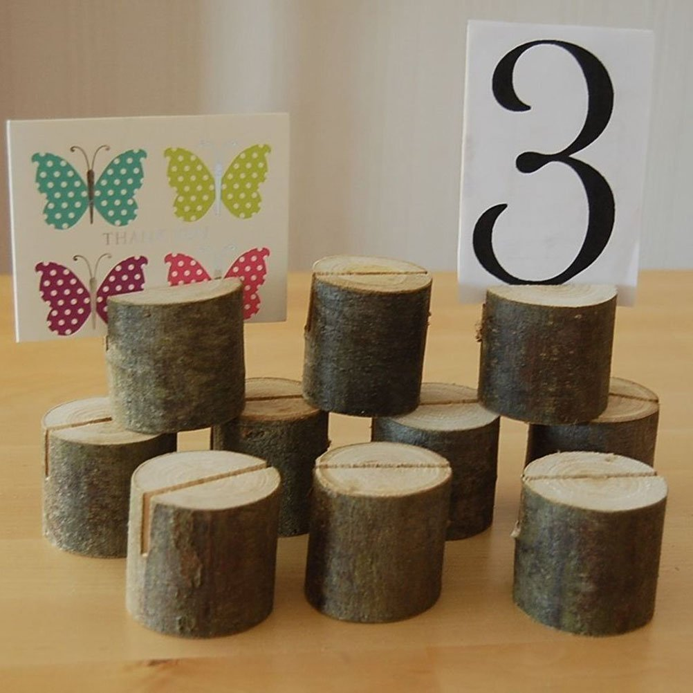 Bigbig_top Wedding Place Wooden Card Holders Table Number Stands for Home Party Decorations Pack of 10 by Bigbig_top (Image #4)