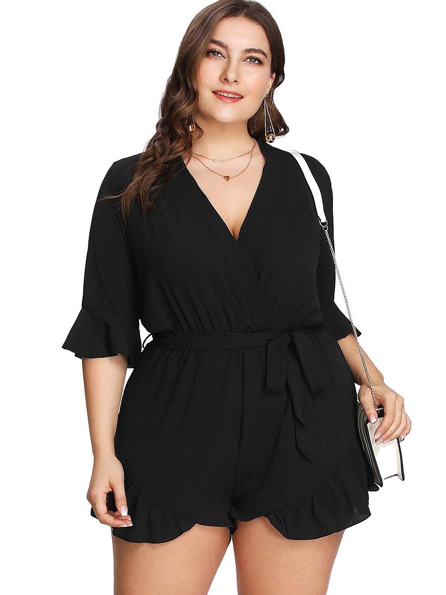 Romwe Women's Plus Size V Neck Wrap Tie Waist Shorts Casual Rompers Jumpsuit Black 2XL by Romwe