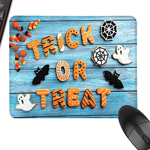 Vintage Halloween Waterproof Mousepad Trick or Treat Cookie Wooden Table Ghost Bat Web Halloween Laptop Desk Mat, Waterproof Desk Writing Pad 23.6