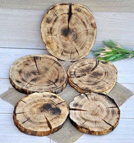 Set of five 810 burnt oak wood slices for centerpieces Wedding table centerpieces Wood centerpieces Rustic centerpieces for wedding decorations Wood slabs for centerpieces Wood slices without bark