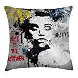 Ambesonne Graffiti Decor Throw Pillow Cushion Cover by, Modern Grunge Wall with a Girl and Quotes Casual Youth Urban Fashion Print, Decorative Square Accent Pillow Case, 18 X 18 Inches, Grey Yellow