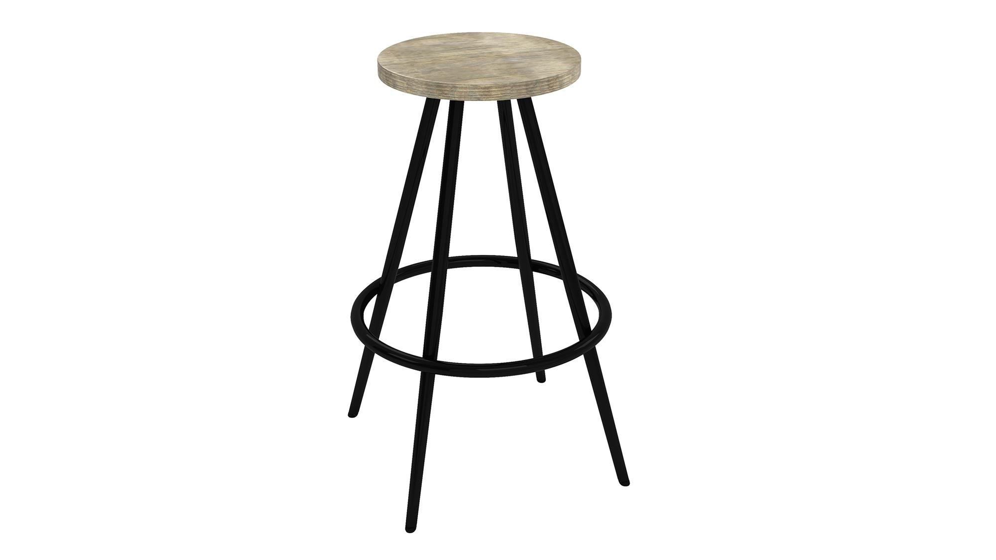 Novogratz Leo Farmhouse 29.5-Inch Bar Stool with Footrest, Rustic and Modern Style, Black Metal Frame with Grey Wood Seat
