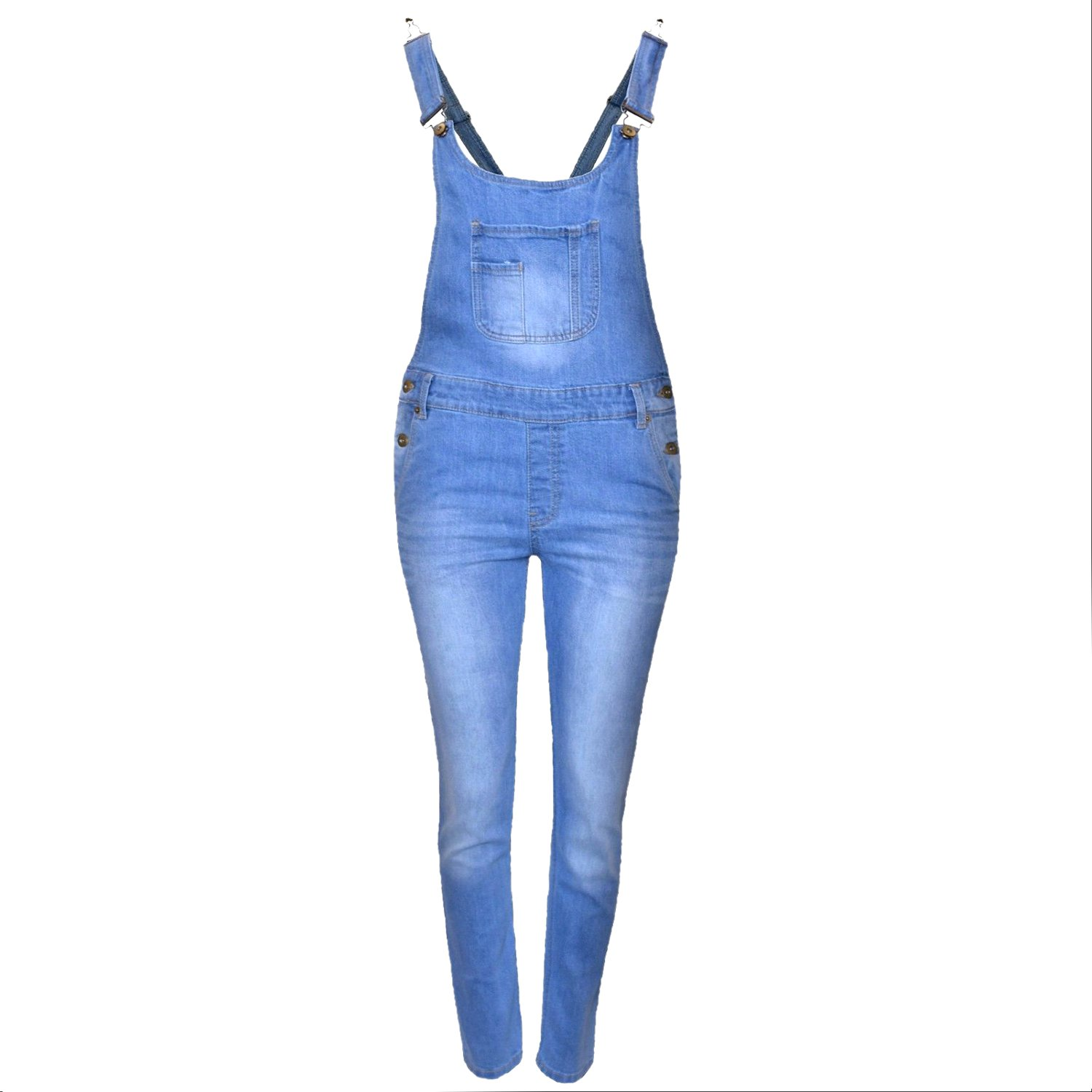 Kids Girls Denim Jeans Dungaree Full Length Celeb Pinafore Overall Jumpsuit 7-14