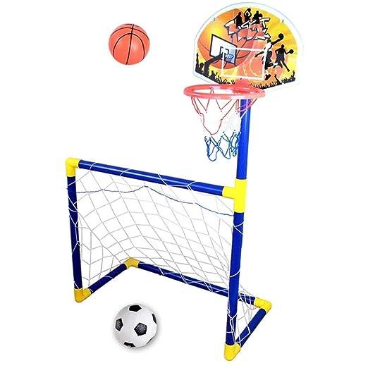 Z-ZH 2 en 1 Canasta de Baloncesto para niños y portería de fútbol ...